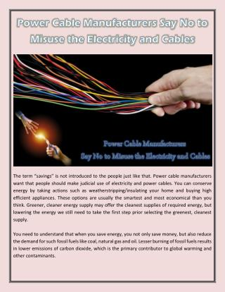 Power Cable Manufacturers Say No to Misuse the Electricity and Cables