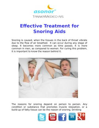 Effective Treatment for Snoring Aids
