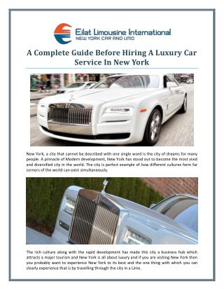 A Complete Guide Before Hiring A Luxury Car Service In New York