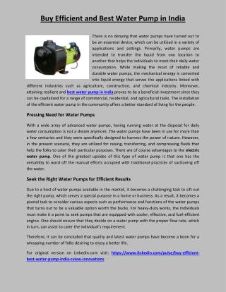 Buy efficient and best water pump in india