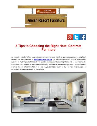 5 Tips to Choosing the Right Hotel Contract Furniture