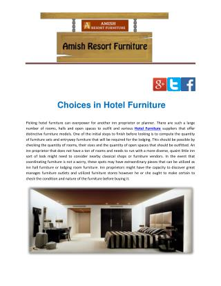 Choices in Hotel Furniture