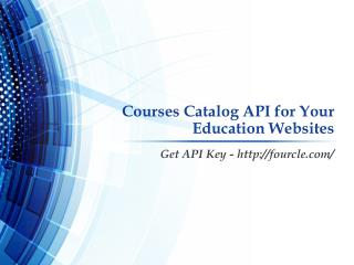 Courses Catalog API for Your Education Websites