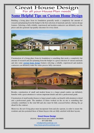 Some Helpful Tips on Custom Home Design