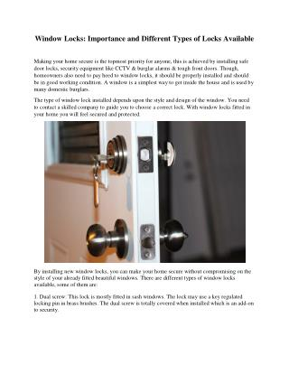 Window Locks: Importance and Different Types of Locks Available