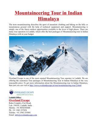 Mountaineering Tour in Indian Himalaya