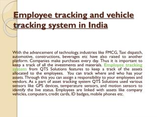 Employee Tracking and Vehicle Tracking System in India