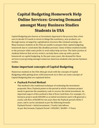 Capital Budgeting Homework Help Services on MyAssignmenthelp.com