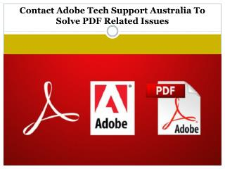 Contact Adobe Tech Support Australia To Solve PDF Related Issues