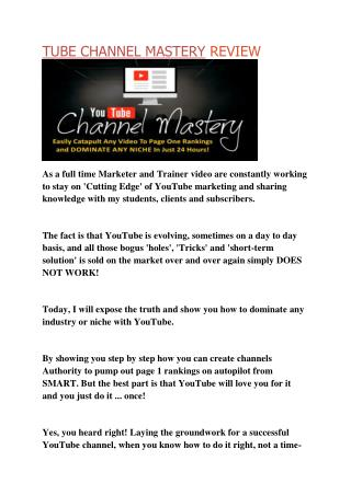 Tube Channel Mastery Review