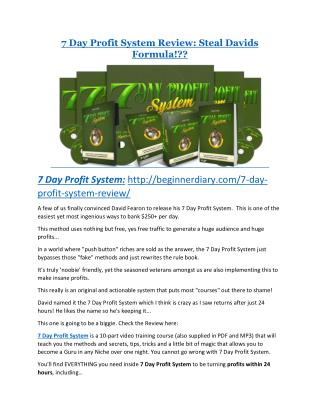 7 Day Profit System Review and (Free) GIANT $14,600 BONUS