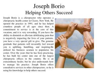 Joseph Borio - Helping Others Succeed