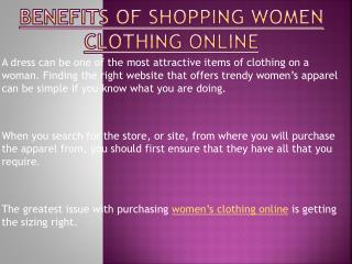 Purchasing Women Clothing Online Benefits