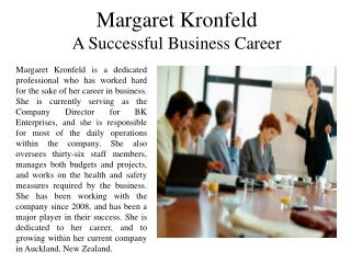 Margaret Kronfeld - A Successful Business Career