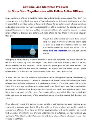 Get Blue Line Identifier Products to Show Your Togetherness with Fellow Police Officers