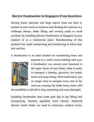 Electric Dumbwaiter in Singapore From Saarelevo