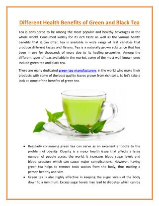 A Health Benefits of Green and Black Tea