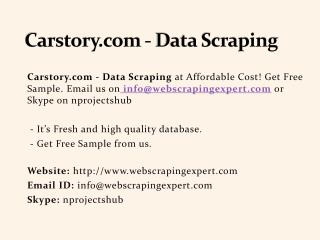Carstory.com - Data Scraping