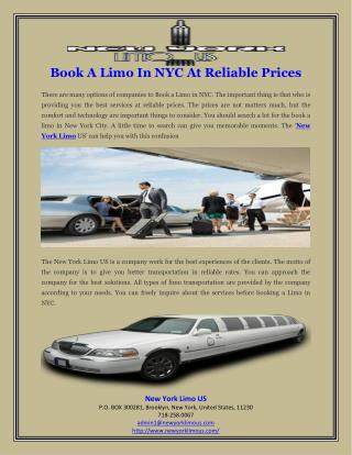 Book A Limo In NYC At Reliable Prices