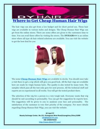 Where to Get Cheap Human Hair Wigs