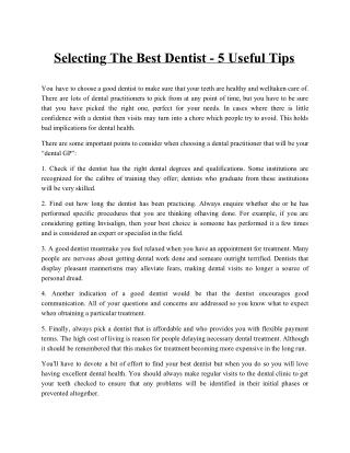 Selecting the Best Dentist - 5 Useful Tips