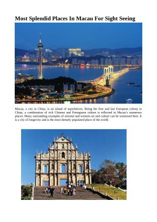 Most Splendid Places In Macau For Sight Seeing