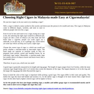 Choosing Right Cigars in Malaysia made Easy at Cigarmalaysia!