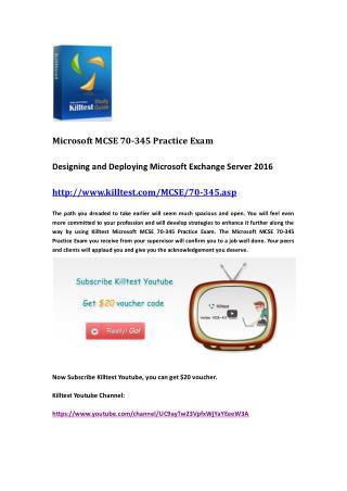 Microsoft 70-345 Practice Exam