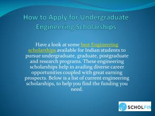 Apply Online for Undergraduate Engineering Scholarships in India
