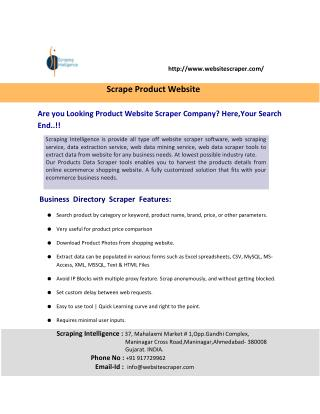 Products Website Scraper, Scrape Products Website, Product Data