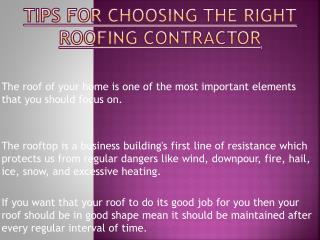 Tips for Choosing The Right Roofing Contractor