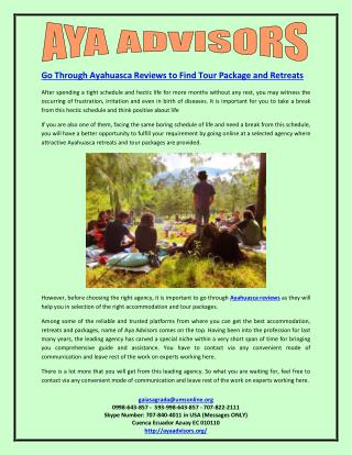 Go Through Ayahuasca Reviews to Find Tour Package and Retreats