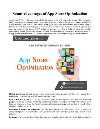 Some advantages of app store optimization