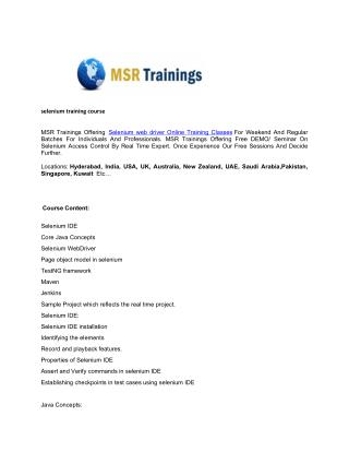Selenium Training Course - MSR Trainings