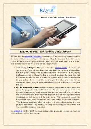 Reasons to work with Medical Claim Service