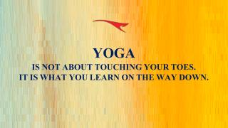 YOGA IS NOT ABOUT TOUCHING YOUR TOES. IT IS WHAT YOU LEARN ON THE WAY DOWN.
