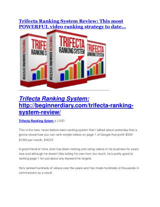 Trifecta Ranking System REVIEW and GIANT $21600 bonuses
