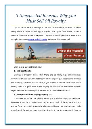 3 Unexpected Reasons Why you Must Sell Oil Royalty