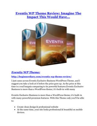 Eventix WP Theme REVIEW and GIANT $21600 bonuses