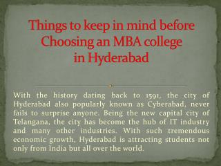 Things to keep in mind before Choosing an MBA college in Hyderabad