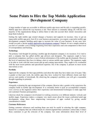 Some Points to Hire the Top Mobile Application Development Company