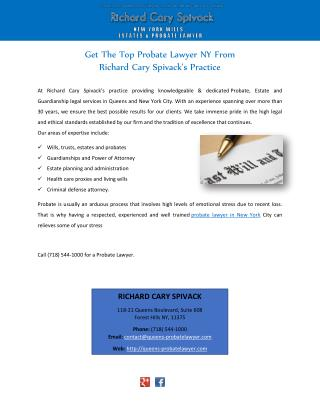 Get The Top Probate Lawyer NY From Richard Cary Spivack's Practice