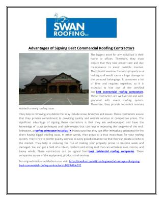 Advantages of Signing Best Commercial Roofing Contractors