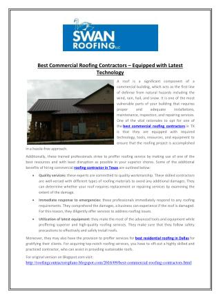 Best Commercial Roofing Contractors – Equipped with Latest Technology