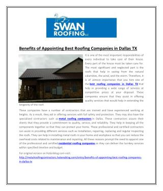 Benefits of Appointing Best Roofing Companies in Dallas TX