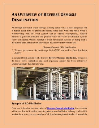 AN OVERVIEW OF REVERSE OSMOSIS DESALINATION