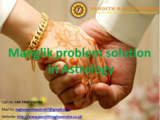 Manglik problem solution in Astrology