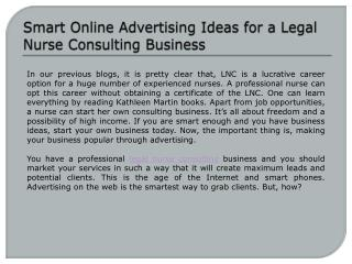 Smart Online Advertising Ideas for a Legal Nurse Consulting Business