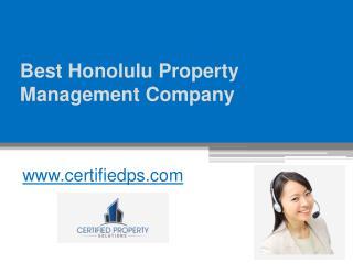 Best Honolulu Property Management Company - www.certifiedps.com