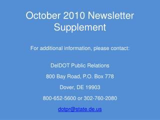 October 2010 Newsletter Supplement